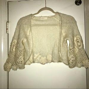 Anthropologie Sleeping on Snow Crochet Cardigan Sm